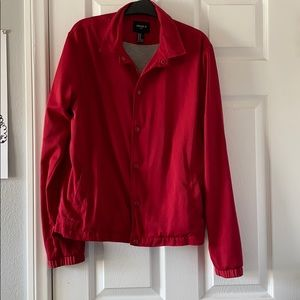 Red jacket (men's clothing, but anyone can wear)